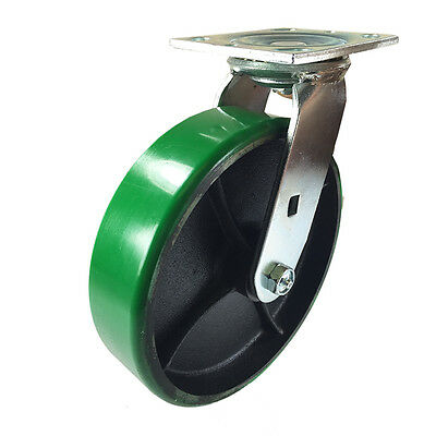 8 X 2 Green Polyurethane On Cast Iron Casters - Swivel
