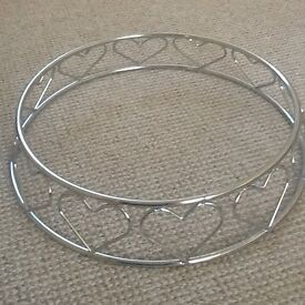 "14"" Heart decorated chrome circular Wedding/Ocassional cake stand"