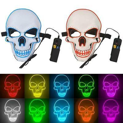 Skeleton For Halloween (LED Light Up Sugar Skull Skeleton Mask Costume for Halloween Festival)