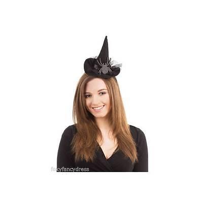 Deluxe Strass Spinne Hut auf Stirnband Hexe Hexen Halloween Kostüm