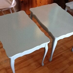 Blueish green side tables