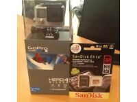 Brand new Go Pro Hero 4 Silver with memory card SanDisk Elite 32 gb both unopened in boxes