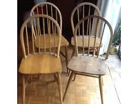 """4 wooden """"windsor"""" type kitchen dining chairs"""
