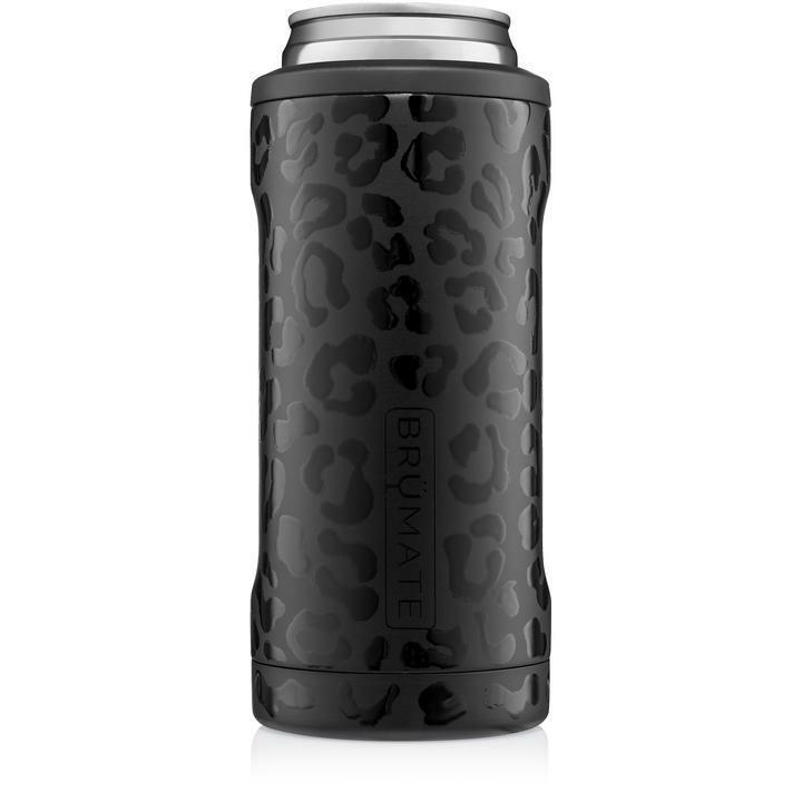 Brumate Hopsulator Slim Can Cooler Tumbler 12 oz Drink Holder Onyx Leopard Black