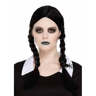 Scary Tochter Perücke Schulmädchen Wednesday Haarzöpfe Gothic Halloween - Halloween Scary Kostüm Mädchen