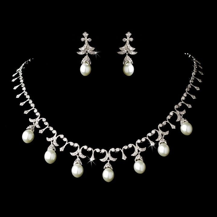 Bridal Necklace & Earrings Wedding Jewelry Set, Silver CZ Crystals & White Pearl