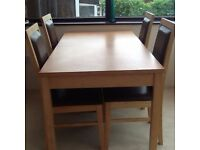 DINING TABLE (EXTENDABLE) & 4 CHAIRS