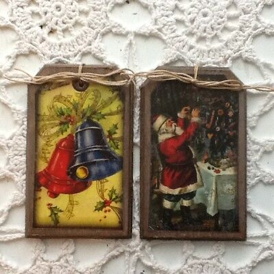 new 5 handcrafted wood vintage christmas ornamentswinter hang tags set11 - Ebay Vintage Christmas Decorations