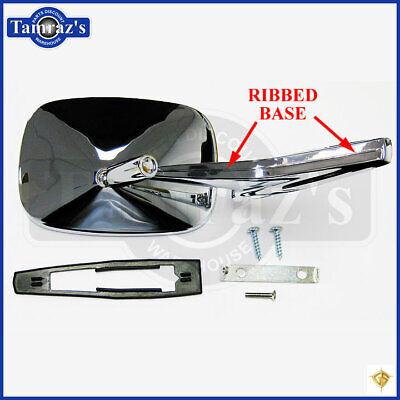 RH Dii Chrome Rectangular Rear View RIBBED Base Door Side Mirror /& Hardware