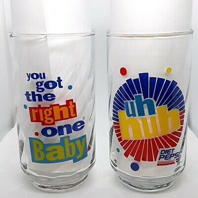 """Diet Pepsi Vintage Glass """"You Got The Right One Baby Uh Huh"""" Ray Charles"""