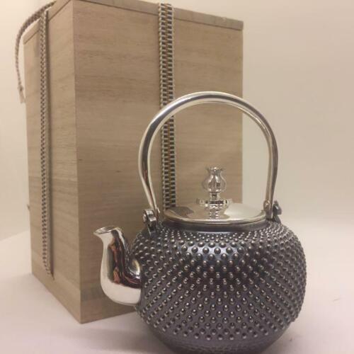 Pure Silver Kettle Jungin Kyusu Tea pot 10*8.5*12cm 230g Japanese Wooden box