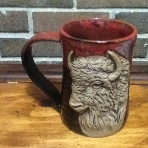 3-D Buffalo Tankard, 24 oz, Coffee Mug, Always Azul Pottery Villa Grove Colorado