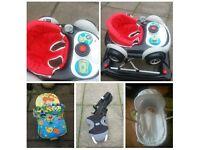 Baby walker, moses basket & bouncy chair