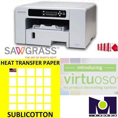 Sawgrass Virtuoso Sg400 Printer Ink Set Cmyk 200 Sheets Sublicotton Combo A