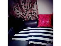 Dfs black Lshape corner sofa...