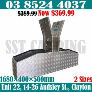 Heavy Duty Aluminium Gullwing Toolbox 1680x400x500 Top Open