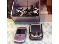 Two blackberry mobile mobs and accessories for parts