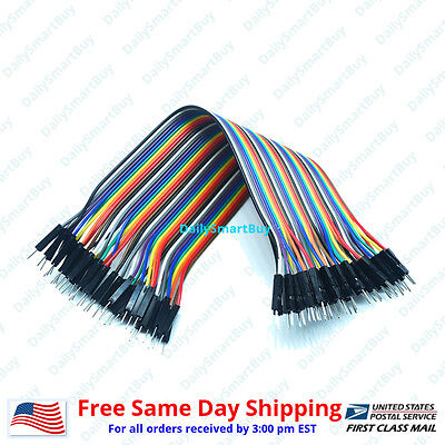 40pcs 20cm 2.54mm Male To Male For Dupont Wire Jump Jumper Cables For Arduino