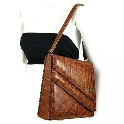 1940s Handbags and Purses History Vintage 1940s Womens Genuine Alligator Purse Bag Handbag Clutch 2 Compartments  $84.00 AT vintagedancer.com
