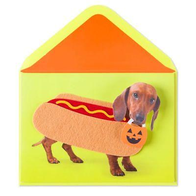 Papyrus Happy Halloweenie! Hot Dog Felt Costume Halloween Funny Card - Happy Halloweenie Costume