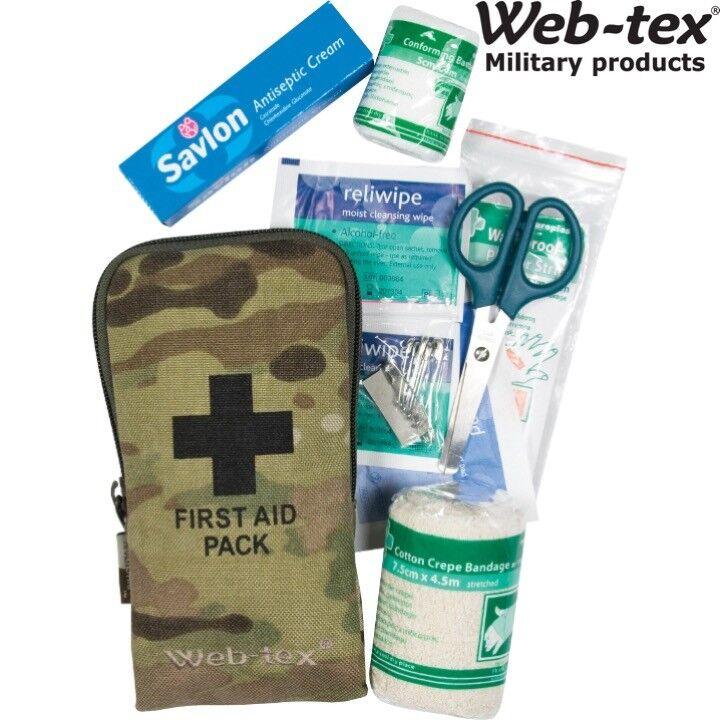 Web-Tex Army PICCOLO KIT PRIMO SOCCORSO SOPRAVVIVENZA Dressing benda forbici