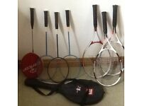 4 Badminton racquets and one cover and 3 tennis racquets and one cover but will split if necessary.