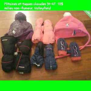 Tuques mitaines hiver fille 3T 4T