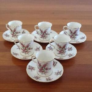 Hammersley Bone China Coffee Cups and Saucers x 6 Taren Point Sutherland Area Preview