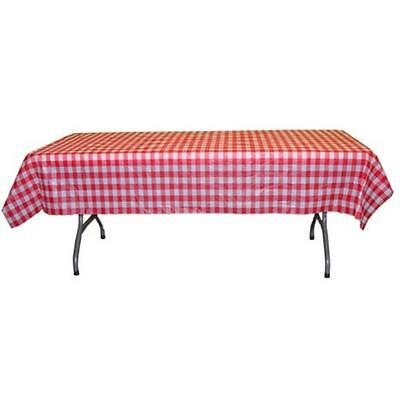 12 Pack - Red White Checked Gingham Plastic Tablecloth 54