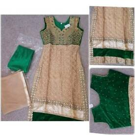 New gold & emerald green dress suit