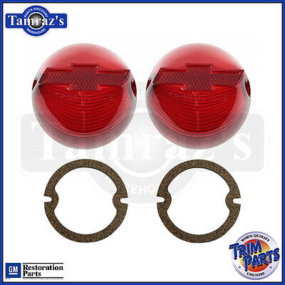 fits 1956 Chevy Tail Light Lamp Lens w/ RED BOW TIE & Gakets USA Made SET
