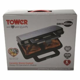 BNIB Tower Cerastone T27013 Deep Fill Sandwich Maker with Non Stick Coating,