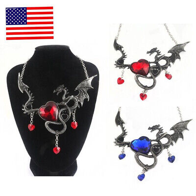 US! Game of Thrones Dragon Necklace A Song of Ice and Fire Heart Shaped Jewelry - Necklace Game