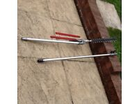 Long reach pole extension and long reach hedge trimmer for garden multi tool