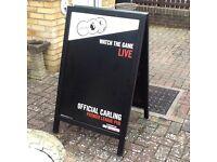 Carling Premier League Wooden Advertising Sandwich/chalk Board