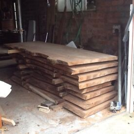 Elm slabs. Wood. Timber.