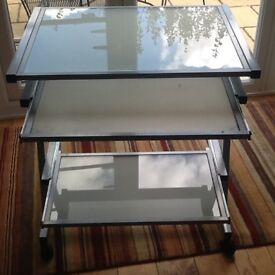 Glass top computer table,
