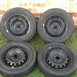 Four 14' X 5' Steel Rims with 175 65 14 tyres. 4 X 100 Stud patte Prestons Liverpool Area Preview