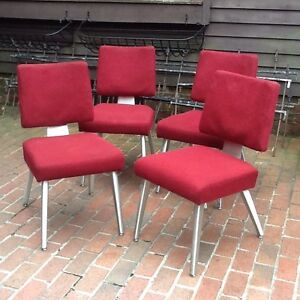 4 Matching Vintage G. F. Goodform 70s Mid Century Aluminum Base Chairs - Good