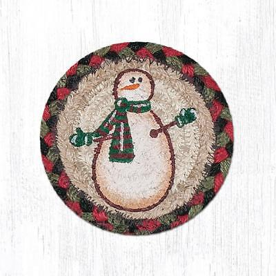 NEW! Primitive Country Rustic 100% Natural Braided Jute FESTIVE SNOWMAN Placemat
