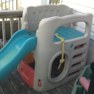 Outdoor kids climber with slide and other play toys