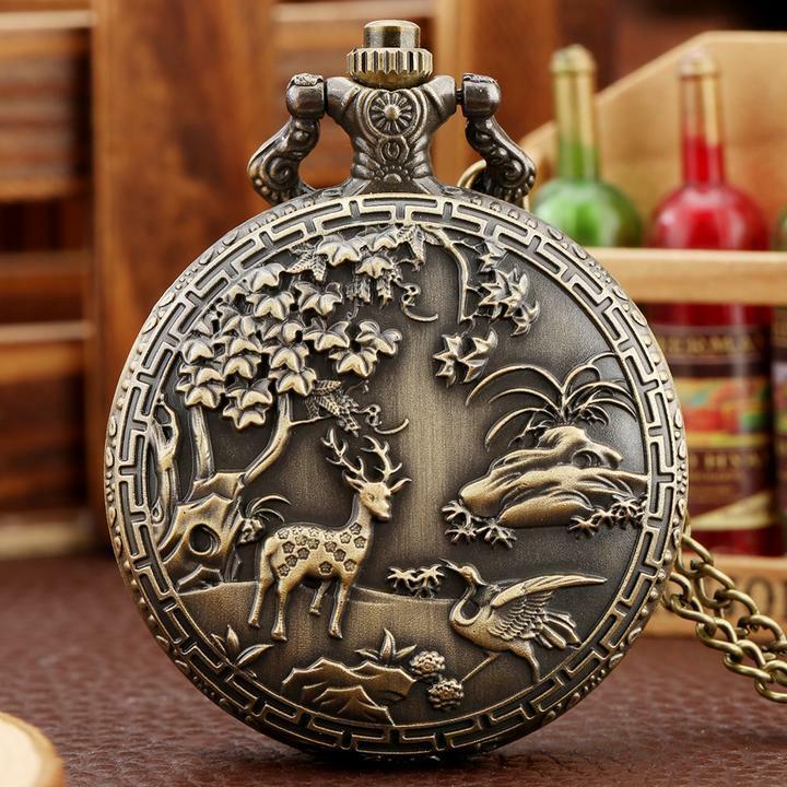 New Bronze Steampunk Quartz Vintage Pocket Watch with Chain Pendant Necklace