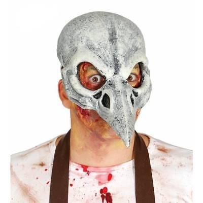 Black Bird Halloween-kostüm (Crow Latex Half Skull Bird Black Death Horror Mask Halloween Adult Fancy Dress)