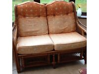 Conservatory sofa and two chairs wicker, good quality