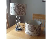 GLASS AND CHROME TABLE LAMP and matching shade