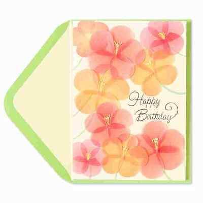 PAPYRUS Greeting Card  Happy Birthday  Vellum Pink & Orange Flowers - Orange Vellum