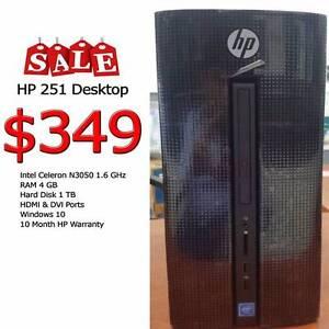 HP 251 Desktop Win 10 Cel N3050 1.6 GHz 4 GB RAM 1TB Warranty 10M Maitland Maitland Area Preview