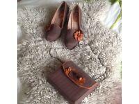 Ladies Ruby Shoo tweed shoes & matching clutch bag