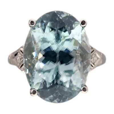 Vintage 10.76ct Art Deco Blue Zircon Platinum Diamond Ring