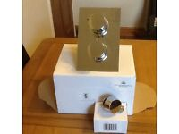 Dual control shower valve with round outlet elbow and shower rail kit